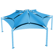 Multi-Panel Hexagon Shade Structure