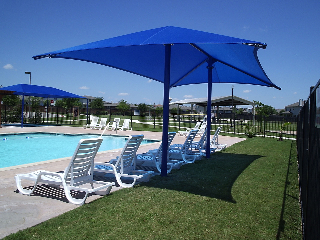 Community Pool Shade Structures - Heatherwilde HOA Community Pool