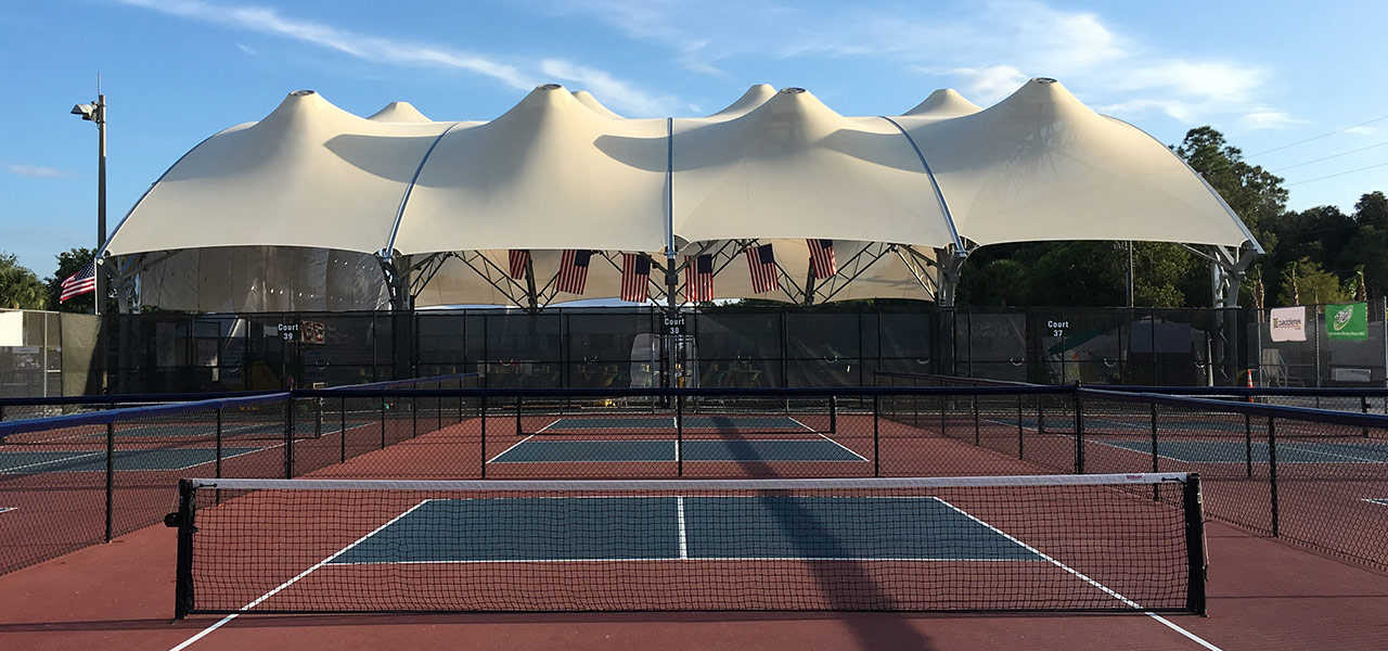 Exterior of US Open Pickleball Championship Open Air Arena