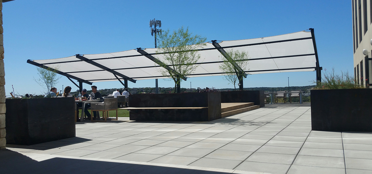 Yeti corporate campus for Metal sun shade structures