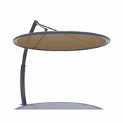 The Cantilever Disc is a minimalistic design with a framed circular fabric shade suspended by a sleek, curved column.