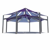 One of our most grand shade structures, the Super Span Octagon Multi-Level Multi-Panel combines many of our design schemes into one structure.